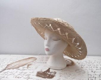 50s 60s 70s Vintage Natural Women Straw Wide Brim Hat Summer Hat Straw Hat