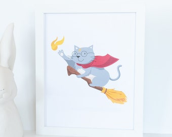 Cat Wizard Animal Wall Art, Grey Cat Home Decor, Magical Kitty Nursery Print, Harry Potter Inspired Wall Art, Flying Cat Nursery Decor