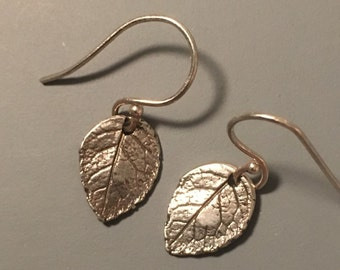 sterling silver leaf earrings, leaf earrings, tiny silver leaf earrings, boho leaf earrings