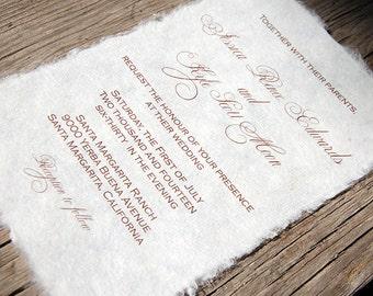 Mulberry Paper Wedding Invitation - Handmade Paper Eco Friendly Budget Invitation