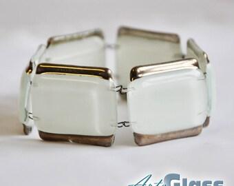 Bracelet handmade white with platinum