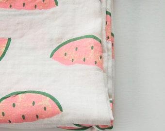 Watermelon Pattern Double Cotton Gauze Fabric by Yard
