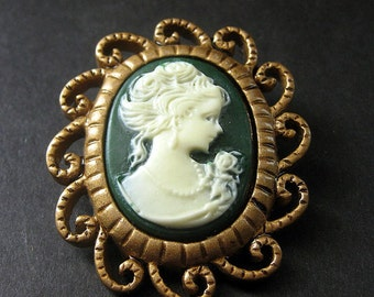 Green and White Cameo Cabochon Shank Button. Filigree Frame Cameo Button in Bronze. Resin Button - 45mm x 39mm  (Qty 1)