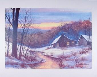 LOG CABIN PRINT, Snow Landscape, Winter Art, Rustic Decor, Wall Decor, Wall Art, Home Decor, Art Print, Poster, Landscape, Log Cabin, Creek