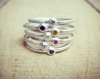 Stacking Birthstone Ring in Sterling Silver, Mother's rings, Skinny Birthstone rings