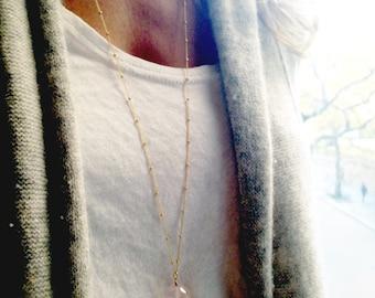 Rose Quartz Necklace - Gold Rose Quartz Necklace - Pink Stone -  Gold Long necklace - 14k  Gold filled - Dainty Necklace