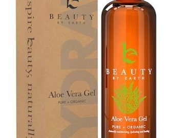 Aloe Vera Gel - Pure & Organic Aloe for After Sun Skin Care on Face and Body; Use For Soothing Burns, Rashes, Bites, Acne, Eczema; Best...