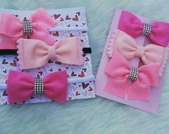 Pink Felt hairbows set of 3, nylon headband, felt bow