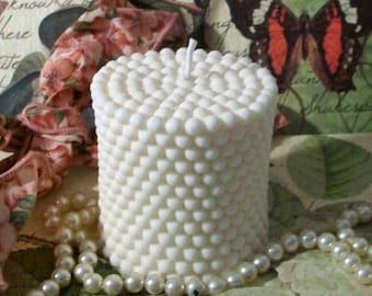 White Beeswax Hobnail Pearl Design Covered Candle