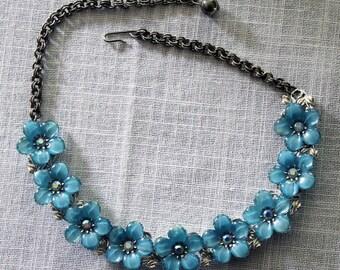 Blue Lucite Flower Necklace