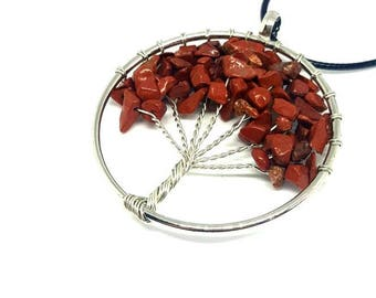 Tree of life pendant necklace, red jasper Gemstone chips, Mothers Day gift, birthday gift, Crystal, Gemstone.