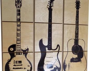 Les Paul Custom Electric Guitar Wood Wall Art / Acoustic guitar/ Gift for Him / Her / Man cave Decor / Garage  Art / Music / musician