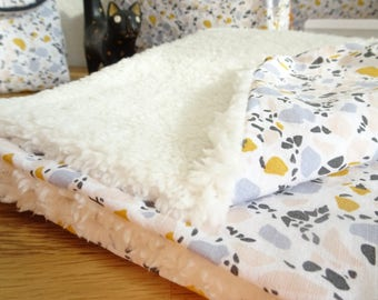 Baby blanket in cotton and Sheepskin fur