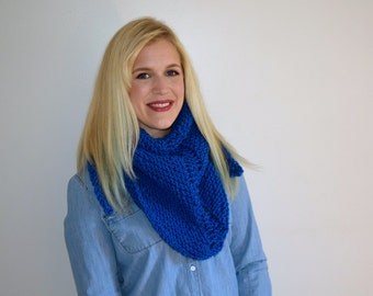 Royal Blue Triangle Scarf, Blue Knit Shawl