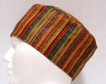 Mens Scrub Hat or Surgical Cap with Stripes of Fall Colors