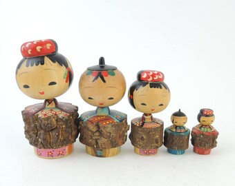 Vintage kokeshi doll, Set of 5