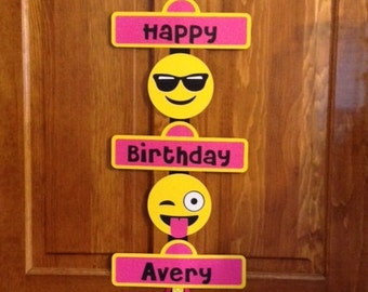 Emoji Smiley Faces Birthday Party Door Sign