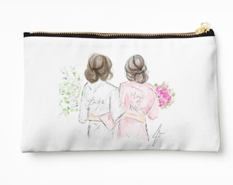 Bride and MOH Cosmetic Case (MOH-Wedding-Bridesmaids-wedding cosmetic case- bridesmaids cosmetic case)
