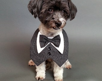 Black and Grey Paisley Dog Tuxedo, Dog Wedding Tuxedo Vest with Bow Tie Color of Your Choice