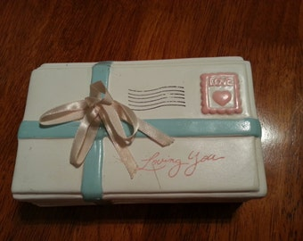 Little Ceramic Box that Looks like a Mailed Letter