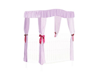 CRIB SIZE Solid Lavender Canopy Bed Fabric Top with  Princess Drapes and Hot Pink Ribbon Ties