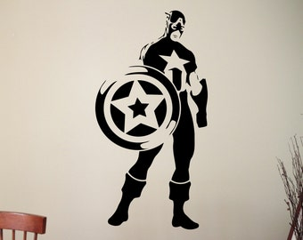 Captain America Sticker Super Hero Wall Decal Marvel Comics Wall Art Vinyl Mural Home Interior Children Room Decoration 4cazz