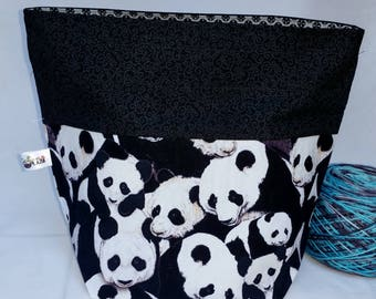 Drawstring Project Bag, Cute Panda Bears Medium Size Sock to Shawl Wedge Tote Bag