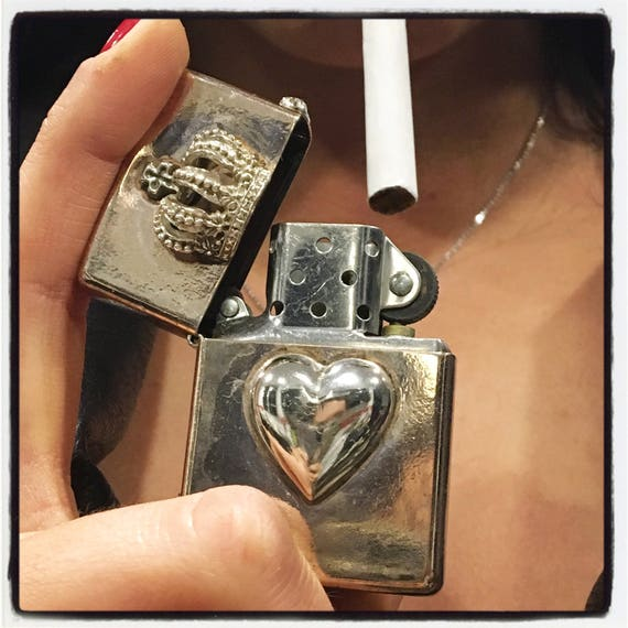 Etherial Jewelry - Rock Chic Talisman Luxury Biker Custom Handmade Artisan Pure Sterling Silver .925 Custom Heart and Crown Lighter Case