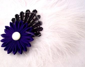 Dark Purple Chiffon Hair Flower with Black Lace and White Feathers Tsumami Kanzashi Fascinator