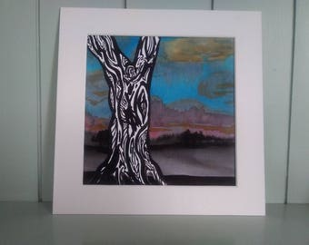Original watercolour painting, mounted tree painting, 'night comes'