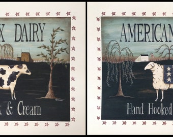 Pastoral Landscape. Saltbox Dairy and American Mills. Primitive Folk Art Cow or Sheep Americana, New England style Print by Donna Atkins