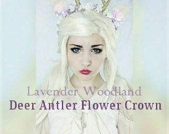 Lavender Woodland Deer Antler Flower Crown Headband