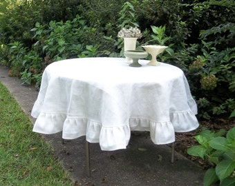 Ivory White Burlap Tablecloth Custom Ruffled Tablecloth Wedding Decorations Table Decor French Country Farmhouse Ruffled Burlap Tablecloth