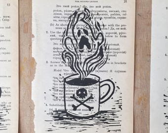 Ghost Coffee - Original Art - Lino Print