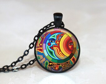 Glass Tile Necklace Sun and Moon Necklace Moon Jewelry Sun Jewelry Celestial Jewelry Mayan Jewelry Glass Tile Jewelry Black Jewelry