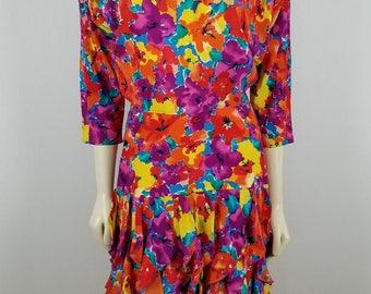 SPENSER JEREMY VTG 100% silk Colorful Floral ruffled bottom dress size 6