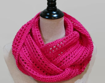 Crochet infinity scarf, Pink knit circle scarf,  bright pink eternity scarf, pink cowl, neck warmer, gifts for her under 50, ready to ship
