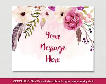 Pink Floral Boho Bridal Shower Welcome Sign / Boho Bridal Shower / Watercolor Floral / Boho Feathers / Instant Download Editable PDF B117