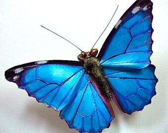 Leather Morpho Butterfly Brooch