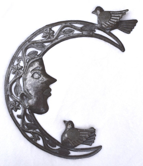 """Birds in the Moon Metal Hanging Wall Art from Haiti 9"""" x 13"""" SM855"""
