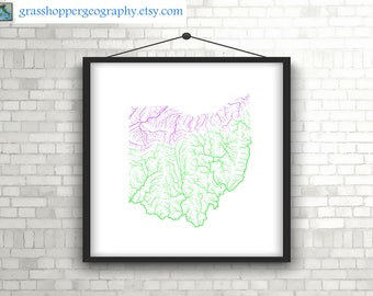 river basins of ohio in rainbow colours high resolution digital print map print wall art poster map home decor wall decor printable