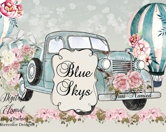 Retro Watercolor Truck Clip-art, Watercolor Blue Pick-up Truck, Hot Air Balloon Clip-art, Peony Flowers Pink Graphics. No. P123
