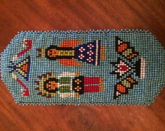 Native American, Beaded, Eyeglass holder pouch, soft leather and beads, handcrafted souvenir American Indian crafted