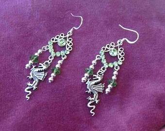 DRAGON FANTASY Chandalier Drop Dangle Earrings w/Green Swarovski Crystal Findings