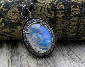pave diamond necklace, moonstone necklace, pave jewelry, statement necklace, luxury necklace, moonstone diamond necklace, gift for wife,