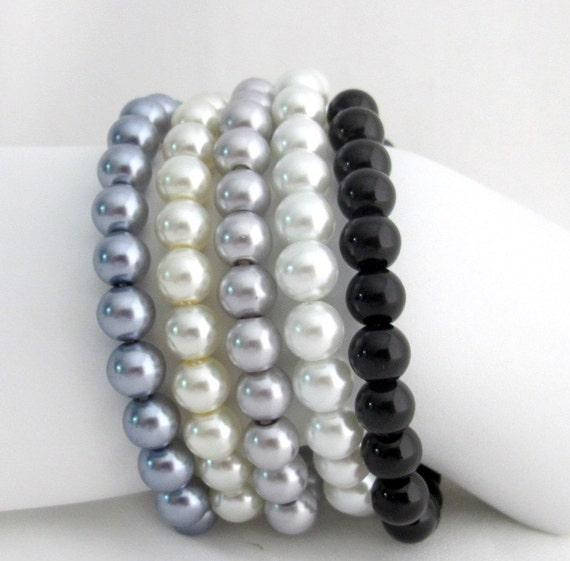 Set Of White Gray Black Pearl Stretchable Bracelet Ivory Silver Gray Medium Gray White Black Bracelet