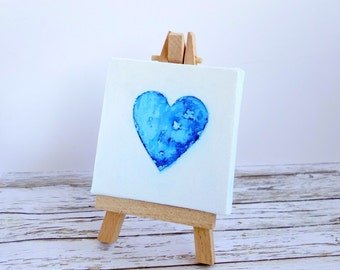 Mini original art canvas & easel, Valentine gift, for him, husband, boyfriend, watercolour heart original painting blue and white