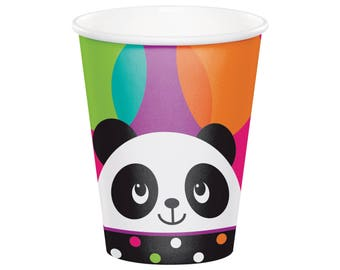 Panda Cups - Panda Party Cups, Panda Birthday Party Favor Cups, Girl Panda Baby Shower, Panda Bear Party Pink and Black Panda Party Supplies