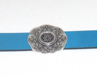 Ocean Blue Leather Etched Silver Round Slider Cuff Bracelet