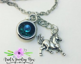Year of the Horse Birthstone Charm Necklace Custom Handmade with optional initial